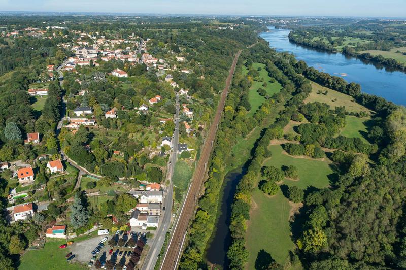 Vue aérienne du Cellier côté bourg